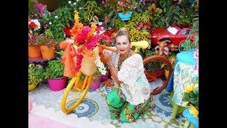 Bicicletas pintadas con cestas de flores y plantas  | Tutorial de jardinoterapia | Agosto 2018