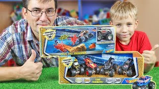 МОНСТР ТРАК 2018 - ИЛЮША против ПАПЫ на треке ХОТ ВИЛС Hot Wheels Monster Jam Brick Wall Breakdown