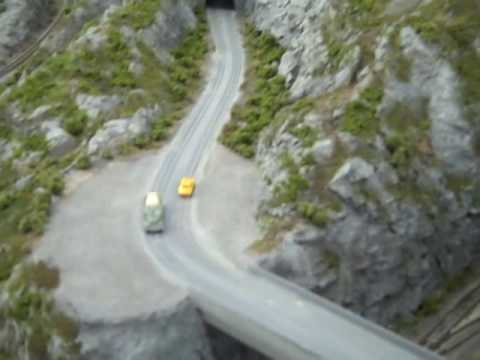 Z Scale Mountain Road with Working Cars Model Railroad