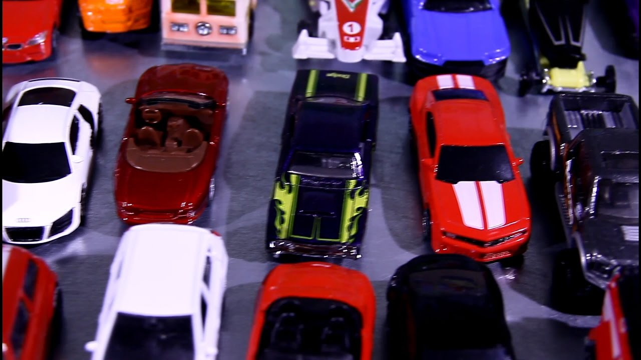 50 small toy cars crashes into each other video for kids