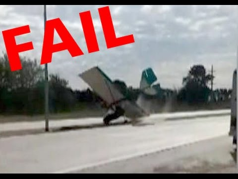 Bloopers fail best funny video Ultralight Aviation -airplane taking off in road accident