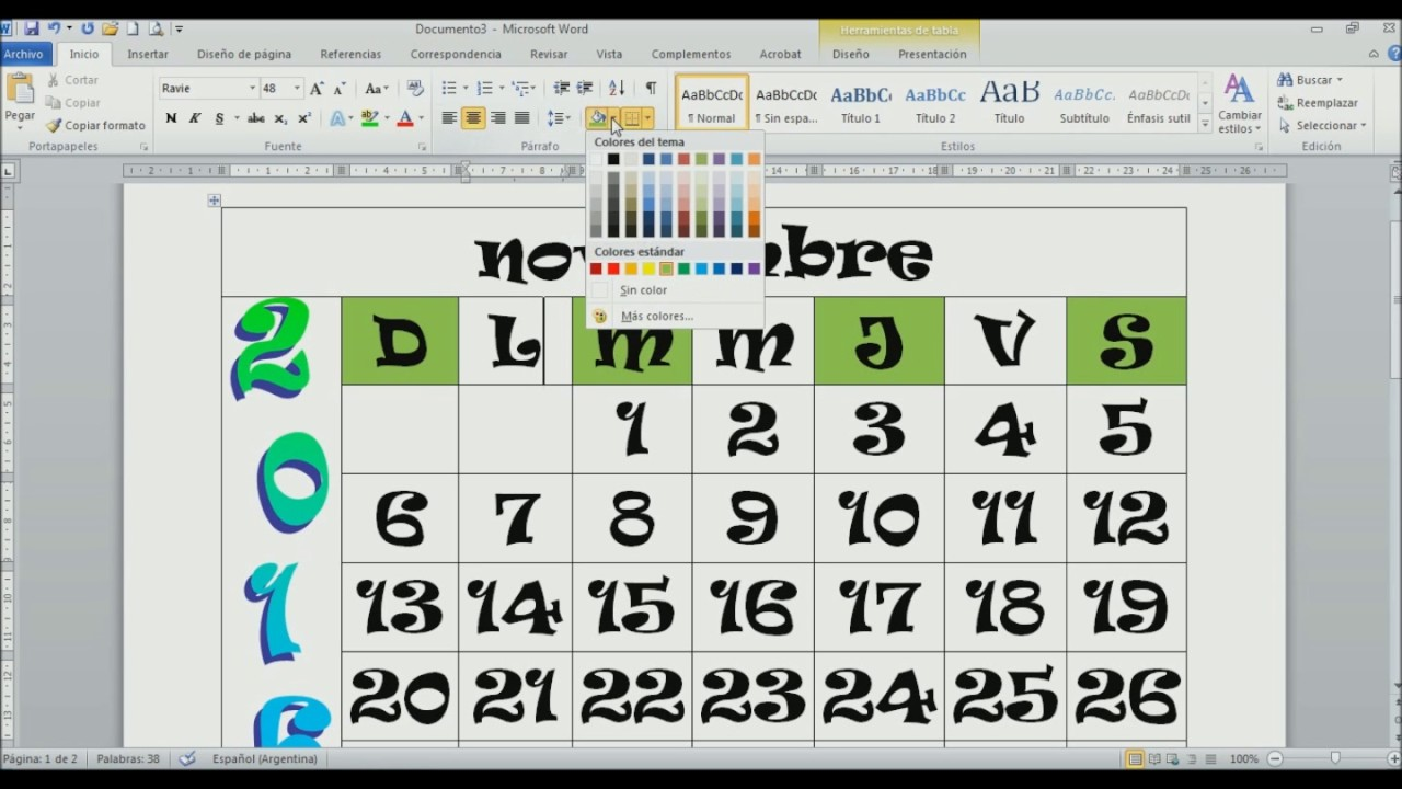 Como Hacer Un Calendario En Word.Tutorial De Word Como Crear Un Calendario Con Tablas