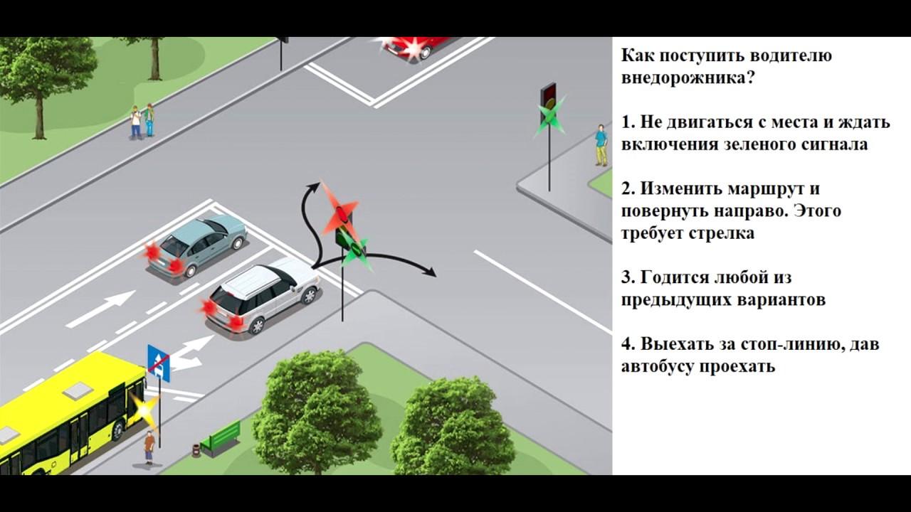 ПДД 2020. Проезд по дополнительной секции светофора.