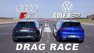 VW GOLF 8 R vs. AUDI S3 | DRAG RACE | Daniel Abt