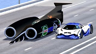 Devel Sixteen vs SSC Fastest Car In The World - Drag Race 20 KM