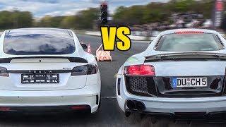 audi R8 vs Prior Design Tesla PD S1000 Model S - DRAG RACE!