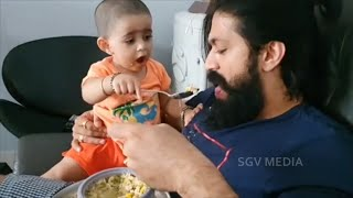 Yash Failed To Feed Daughter Ayra Yash But Ayra Succeed | Rocking Star Yash