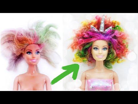 DIY Unicorn Barbie Rainbow Hair👸 Glitter/Sparkle Colouring💖Fashion Clothes Balloon Dress For Dolls
