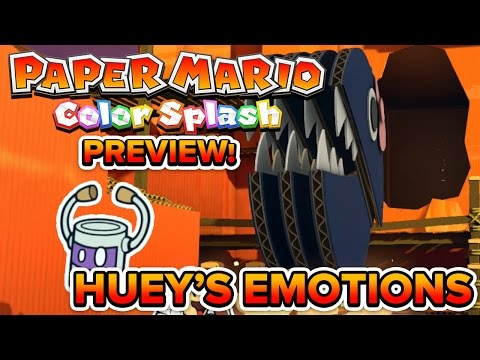 Paper Mario Color Splash - Gameplay Preview!   Huey's Emotions