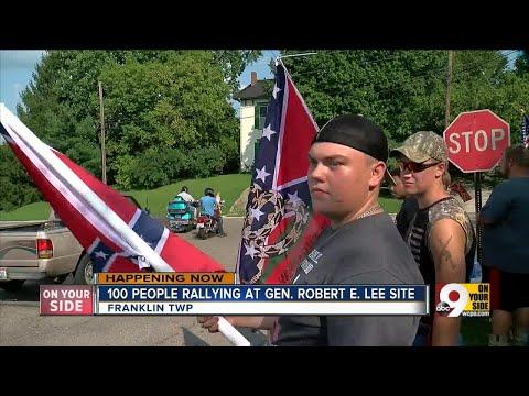 Demonstrators gather at former site of Robert E. Lee plaque