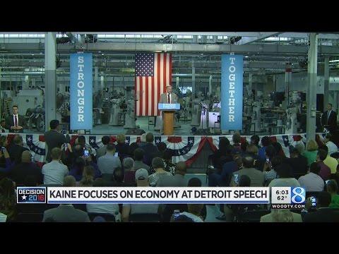 Kaine focuses on economy at Detroit speech