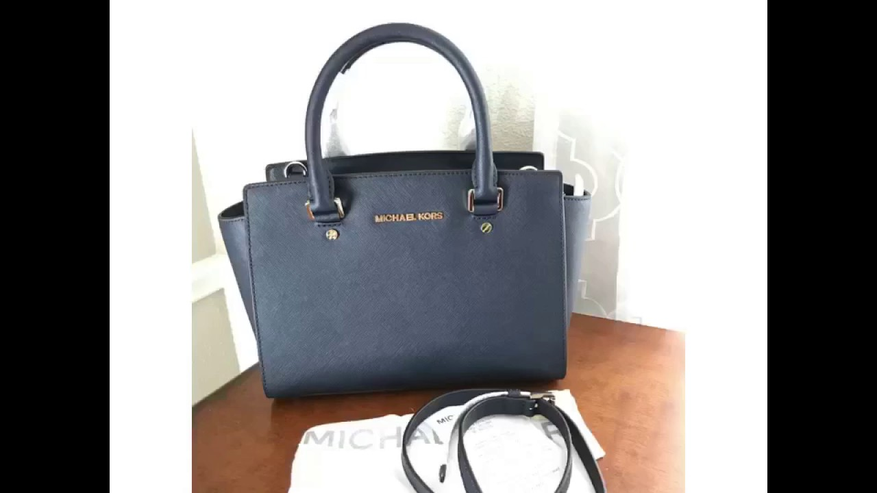 0559457687fa MICHAEL Michael Kors Selma Medium Satchel-NAVY SAFFIANO - YouTube