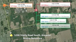Tim Bosma Murder Trial: Tracking accused killers' cell phone calls   EXHIBIT #37