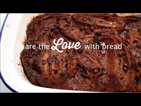 Share the LOVE with bread - Pain au Chocolat bread pudding