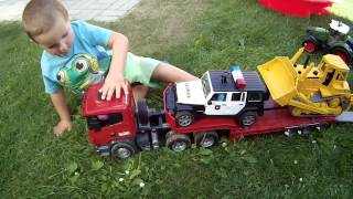 BRUDER TOYS Police JEEP Wrangler Scania CAT Mercedes Benz Truck Tractors