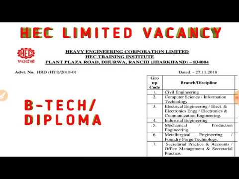 HEC LIMITED HEAVY ENGINEERING CORPORATION LIMITED JHARKHAND BTECH DIPLOMA JOB CIVIL MECHANICAL
