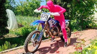 Biker Pink Man on Motorcycle Yamaha found Chevy Camaro & Started Funny Race for Kids