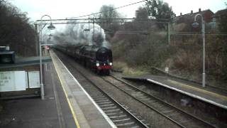 """Along GER lines"" 70013 Oliver Cromwell 8 12 11 hurtles through Harlow Mill station."