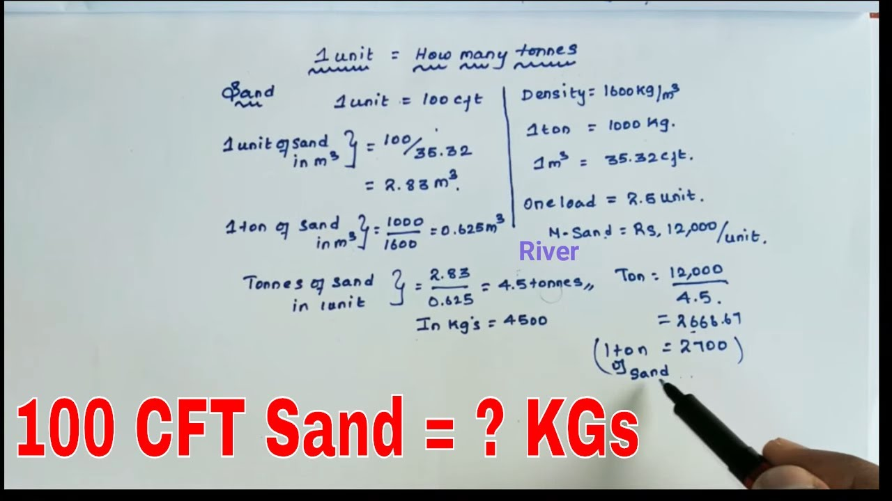 One Unit Of Sand Equal To How Many Kgs Weight Of One Unit Of Sand Youtube