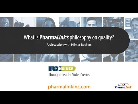 What is PharmaLink's philosophy on quality?   Hilmer Beckers   PharmaLink