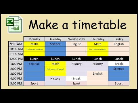 How to make a timetable in Excel - YouTube
