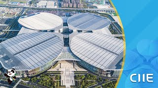 """Live: Aerial view of the National Exhibition and Convention Center in Shanghai """"四叶草""""静候进博会宾客"""