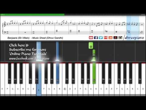 ♫ Banjara (Ek Villain) || Piano Tutorial + Music Sheet + MIDI with Lyrics