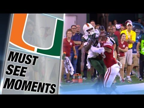 Miami WR Phillip Dorsett Makes Amazing Catch off Nebraska Helmet | ACC Must See Moment