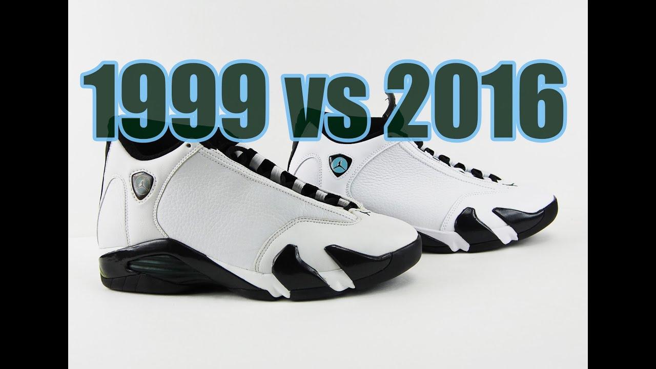 fe178f336ec7 2016 vs. 1999 Air Jordan 14 Oxidized Green Comparison - YouTube