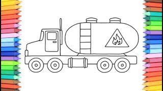 How To Draw A Oil Truck for Kids 💙💜💖 Oil Truck Drawing and Coloring Pages for Kids