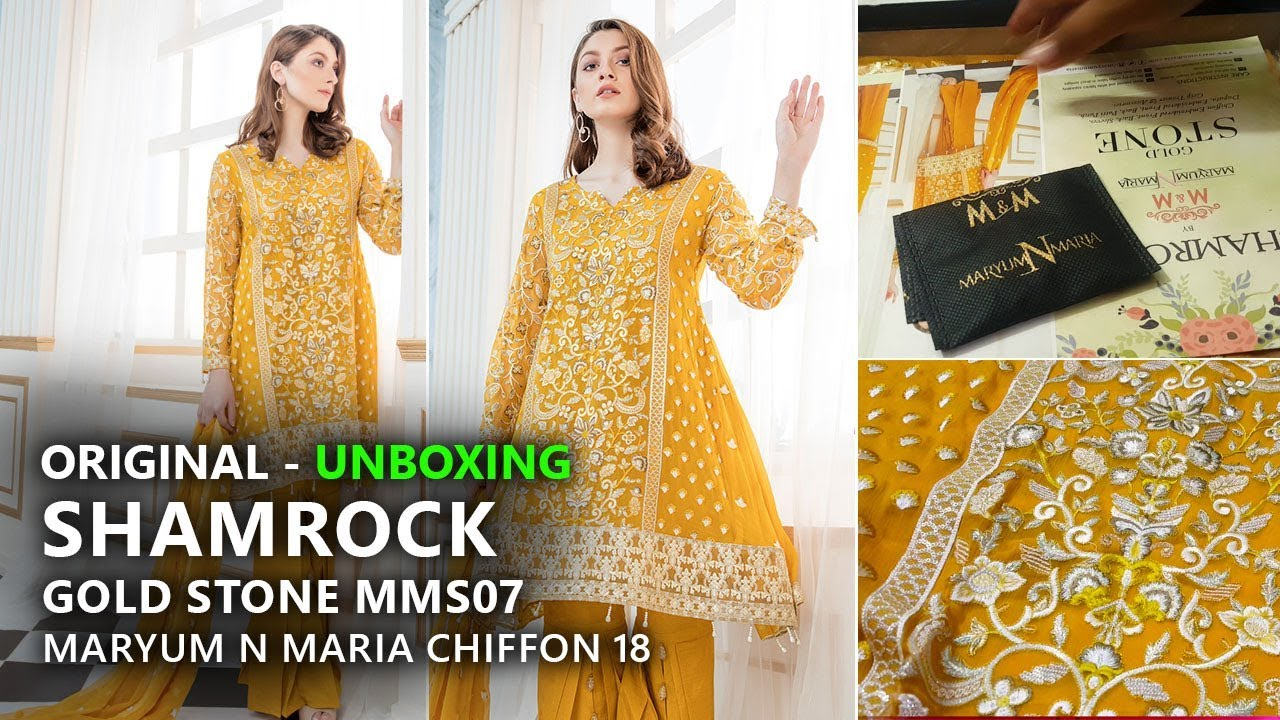 b1e70e5d4e Maryum N Maria Luxury Chiffon Shamrock - Unboxing Golden Stone MMS 07 -  Pakistani Branded Clothes