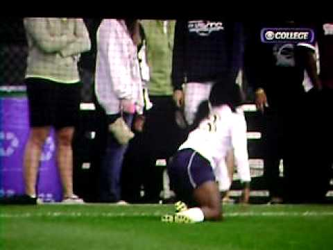 Womens College Soccer player falls hard and hurts herself