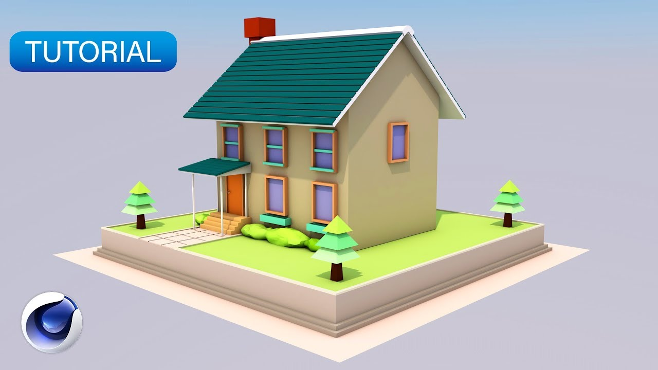 C4D TUTORIAL | Low Poly Simple Cute House (Beginner)