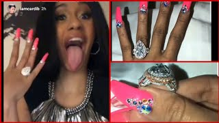 Cardi B RESPONDS To OFFSET Baby Mama By Showing Off 8 CARAT ENGAGEMENT RING From Fiance 😍