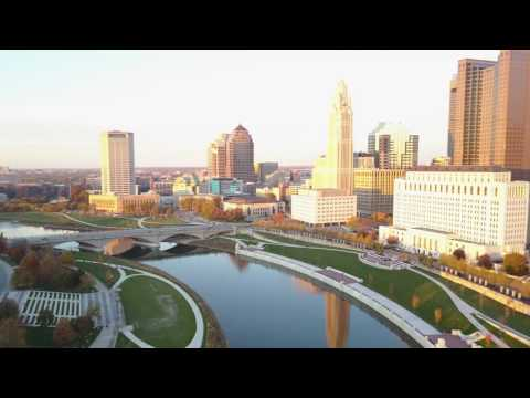 4k Aerial Flyover Columbus, Ohio Downtown