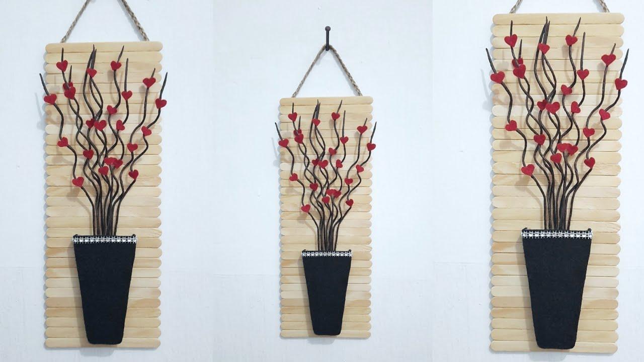 Diy Simple And Easy Wall Decor Ideas Diy Hiasan Dinding Stik Es Krim Miniatur Bambu Ulir Sederhana Youtube Hiasan dinding dari bambu