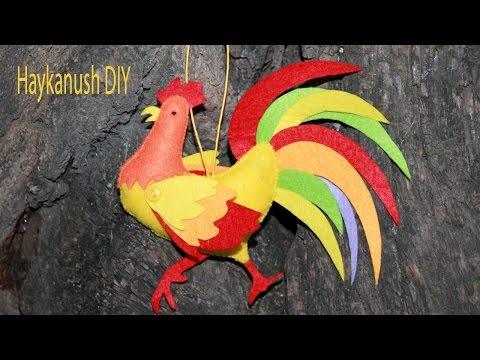 DIY Петушок из Фетра Своими Руками Символ Нового 2017 Года/ Felt Toy DIY Tutorial