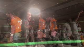 Tennessee, Nebraska players join wrestlers in the ring. 12/29/16 Knoxville News Sentinel