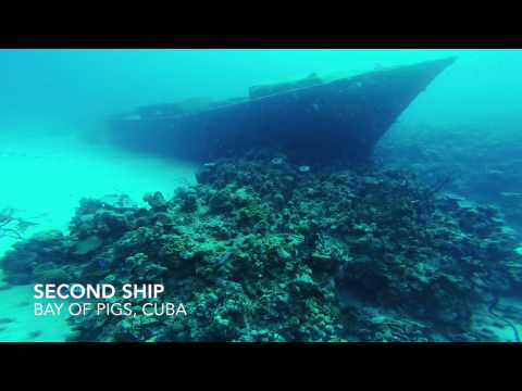 US military shipwrecks in Bay Of Pigs, Cuba. Scuba Diving with GoPro