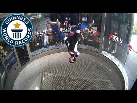 Most head spins in a wind tunnel - Guinness World Records