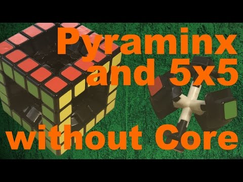 Magnetic 5x5 and Pyraminx without the Core