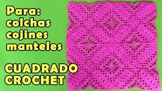 Cuadrado a crochet de arañitas para aplicar en mantitas de bebe, colchas, blusas, manteles