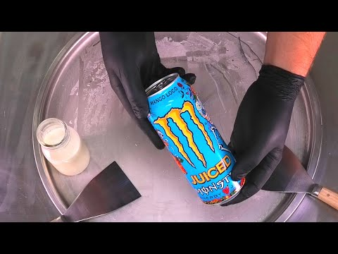 Juiced Monster Energy Ice Cream Rolls | Ice Cream with Monster Energy Drink | satisfying food ASMR