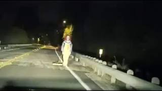 Creepy Clown At Night Gets Hit By Driver.