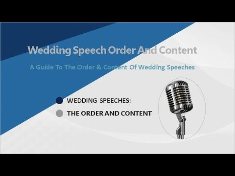 Wedding Speech Order And Content Youtube
