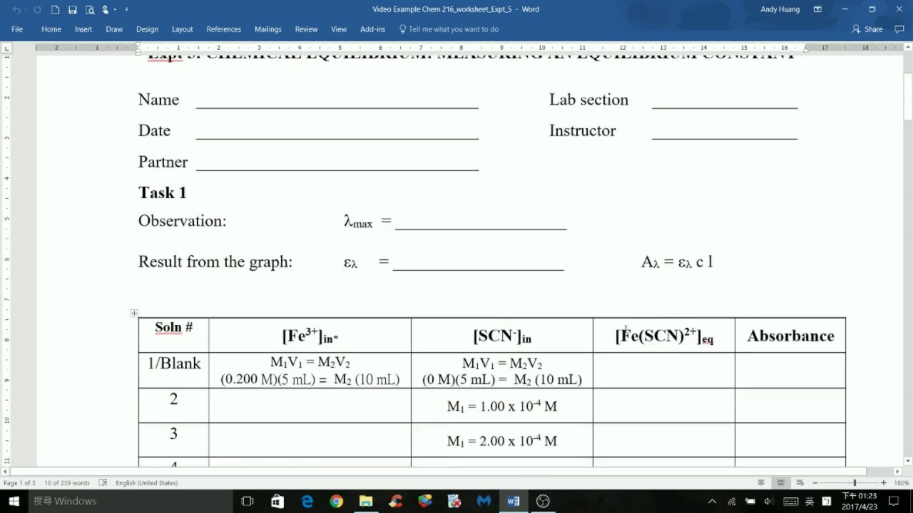 CHEM 216 Experiment 5 Chemical Equilibrium Measuring an – Chemical Equilibrium Worksheet