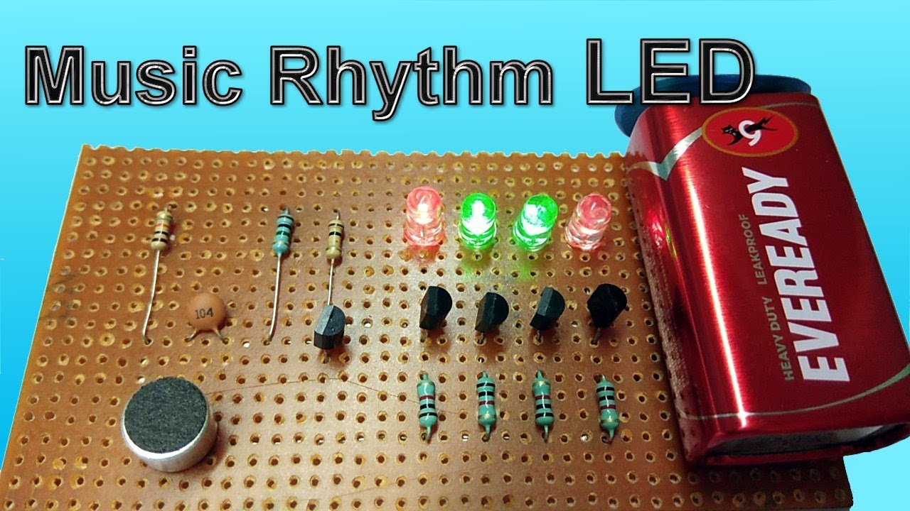 music rhythm led flash light using microphone dancing leds vu meter [ 1280 x 720 Pixel ]