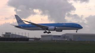 First landing KLM PH-BHC Boeing 787-9 Dreamliner at Schiphol Airport