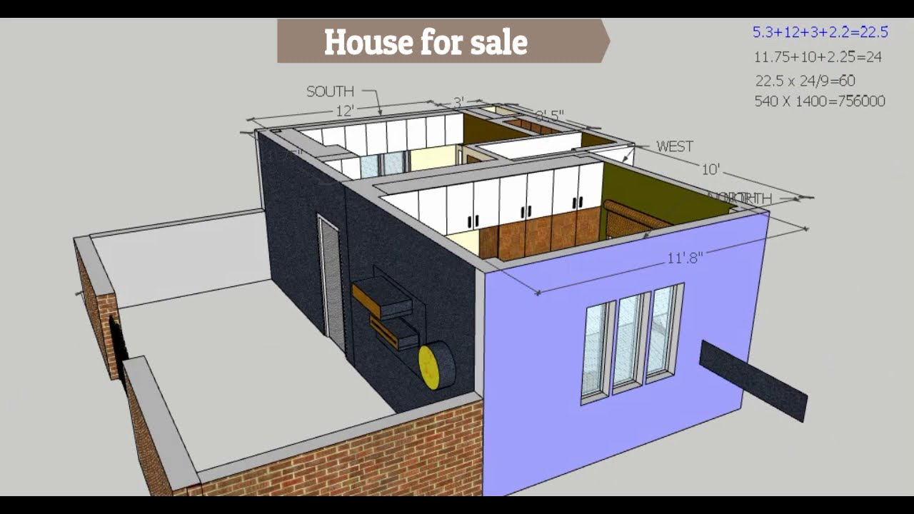 60 yards house plan // 7.5 lakhs house constrution