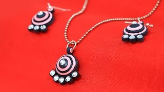 DIY Quilling Earrings - Paper Quilling Jewelry, Pendant Set